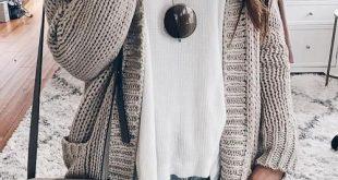 Graue, einfache Taschen mit langen Ärmeln Ausgehen Lässige Strickjacke