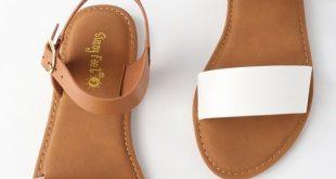 Taryn White Flat Sandals