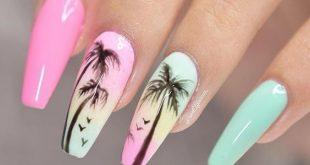 Verpassen Sie nicht niedliche Palme-Sarg-Nagel-Ideen im Sommer