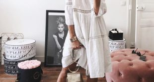 White cotton dress and lace up sandals